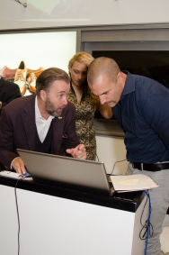Nigel Barker and Gordon Clune designing shoes at Left Shoe Company NYC Pop-Up Opening1